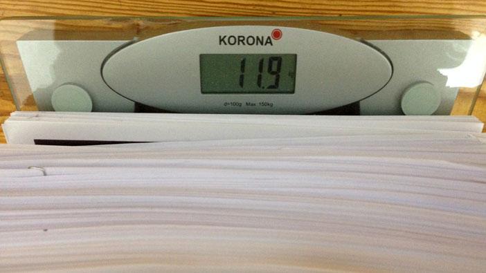 11,9 kg Papier