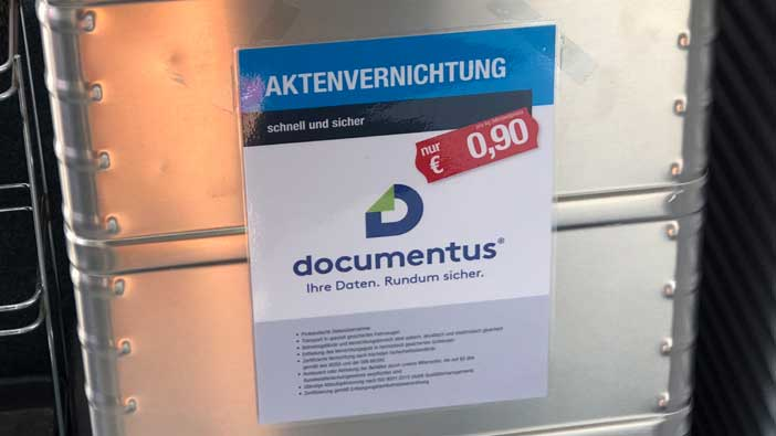 Sicherheitsbehälter documentus Aktenvernichtung